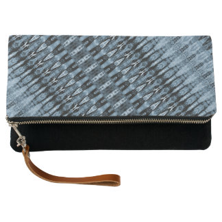 Navy and light blue detailed stripes clutch