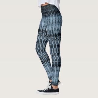 Navy and light blue detailed stripes pattern leggings