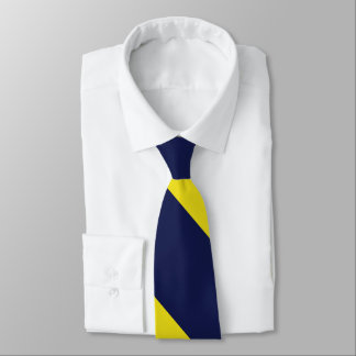 Navy and Maize Broad University Stripe Tie