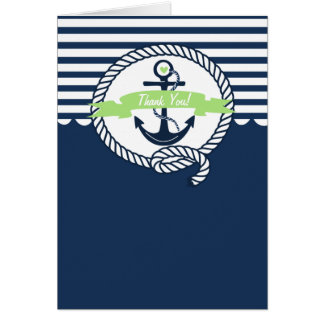 Navy and Mint Green Nautical Thank You Card