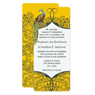 Navy and Mustard Peacock Love Bird Pattern Wedding Card