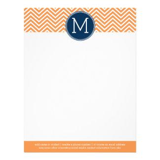 Navy and Orange Chevrons with Custom Monogram Letterhead