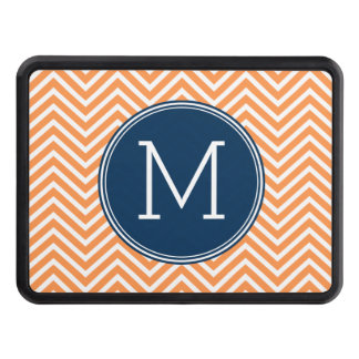 Navy and Orange Chevrons with Custom Monogram Trailer Hitch Cover