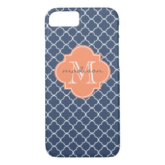 Navy and Orange Quatrefoil Custom Monogram iPhone 8/7 Case