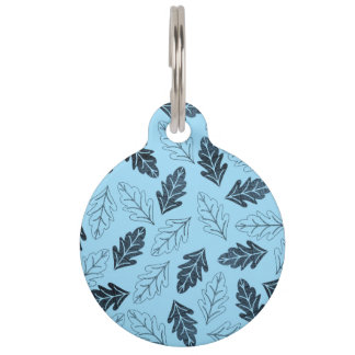 Navy and Pastel Blue Fall Leaves Pattern Pet ID Tag