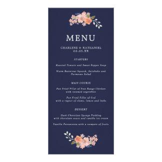 Navy and Peach Floral Wedding Menu