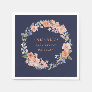 Navy and Peach Floral Wreath Baby Shower Napkins