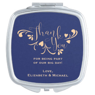 Navy and Peach Thank You Compact Vanity Mirror
