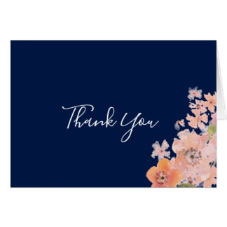Navy and Peach Watercolor Floral Thank You Card