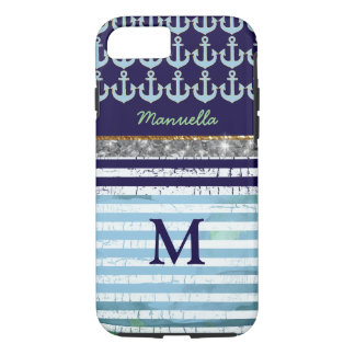 navy and personalized item for her iPhone 7 case