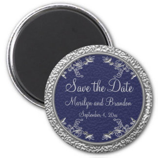 Navy and Pewter Save the Date Magnet