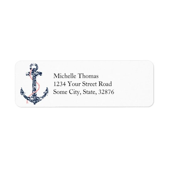 Navy and Pink Anchor Beach Wedding Return Address Label