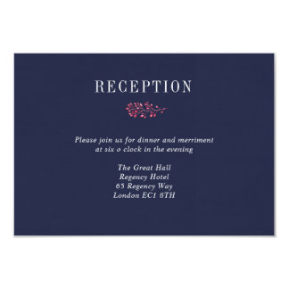 Navy and Pink Berry Wedding Reception Details Card