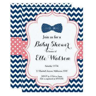 Navy and Pink Bows Baby Shower Invitation
