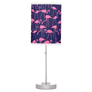 Navy and Pink Flamingo Pattern Table Lamp