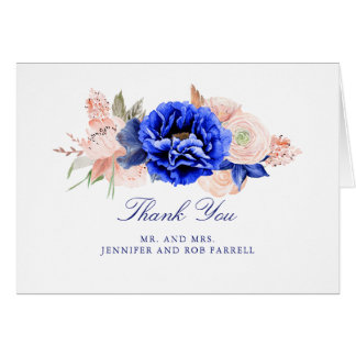 Navy and Pink Floral Wedding Thank You Card