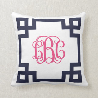Navy and Pink Greek Key Script Monogram LBC Throw Pillow