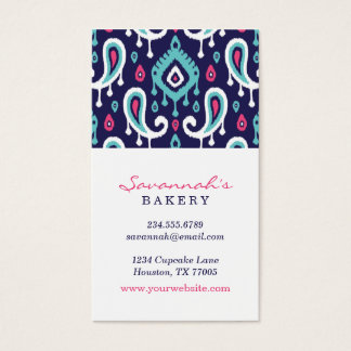 Navy and Pink Ikat Paisley Business Cards