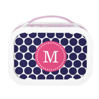 Navy and Pink Mod Dots Monogram Lunch Box