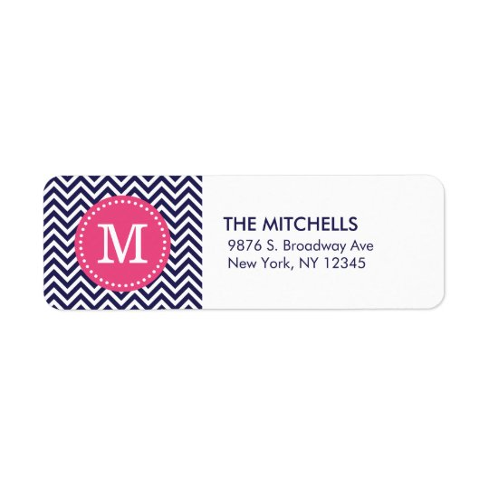 Navy and Pink Modern Chevron Custom Monogram Return Address Label