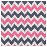 Navy and Pink Modern Chevron Fabric