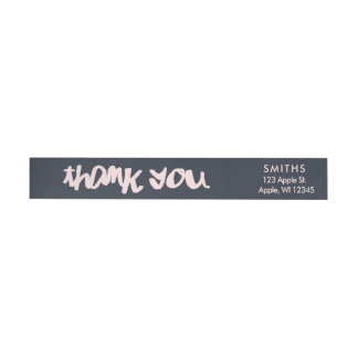 Navy and Pink Modern typographyThank You Wrap Around Label