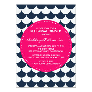 Navy and Pink Nautical Rehearsal Dinner Invitation