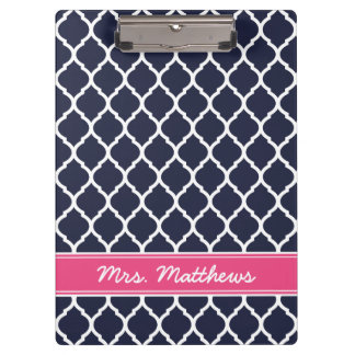 Navy and Pink Quatrefoil Custom Monogram Clipboard