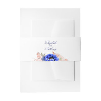 Navy and Pink Watercolor Flowers Wedding Invitation Belly Band