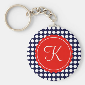 Navy and Red Polka Dots Custom Initial Basic Round Button Keychain