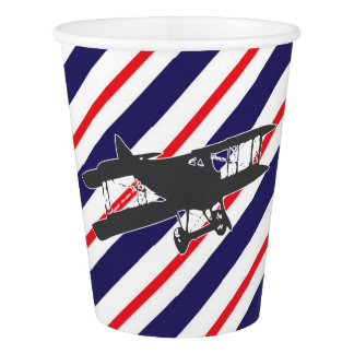 Navy and Red Vintage Airplane Paper Cups