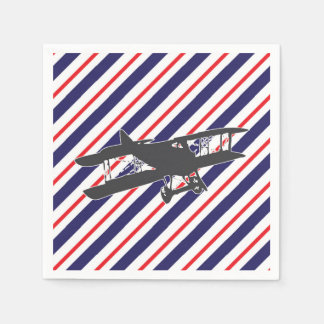 Navy and Red Vintage Biplane Airplane Napkins Disposable Napkins