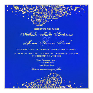 Navy and Royal Blue Henna Lace Wedding Invitation