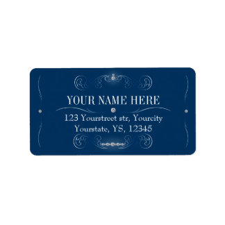 Navy and silver address labels