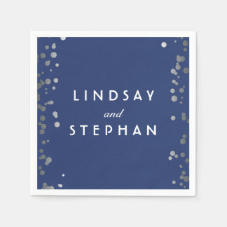 Navy and Silver Confetti Dots Wedding Disposable Napkin