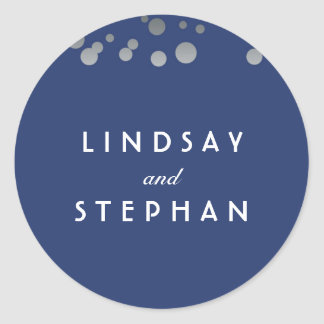 Navy and Silver Confetti Wedding Classic Round Sticker