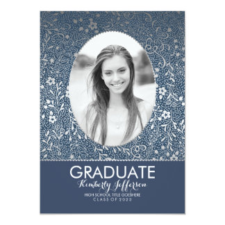 Navy and Silver Floral Chic Photo Graduation Party Card