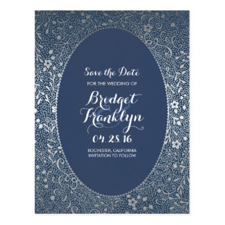 Navy and Silver Floral Vintage Save the Date Postcard