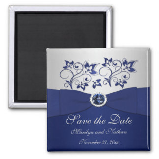 Navy and Silver Floral Wedding Favor Magnet