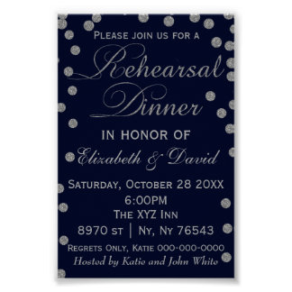 Navy and Silver Glitter Rehearsal Dinner Sign Poster