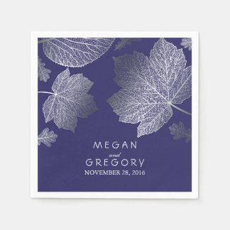 Navy and Silver Leaves Fall Wedding Disposable Napkins