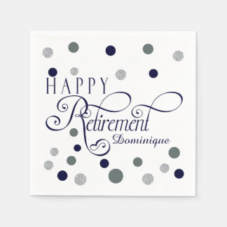 Navy and Silver Retirement Party, Custom Napkins Paper Napkins