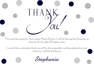 Navy And Silver Retirement Thank You Cards