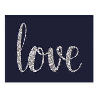 Navy and silver sparkle love postcards