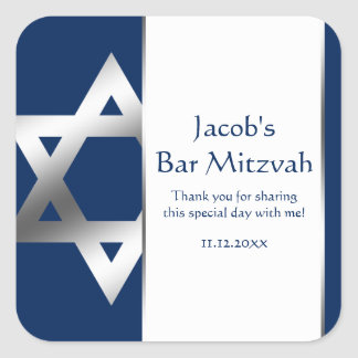 Navy and Silver Star of David Bar Mitzvah Favor Square Sticker