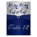 Navy and Silver Table Number Card