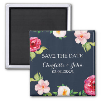 navy and silver watercolor flowers wedding magnet
