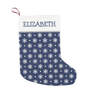Navy and Snowflakes Personalized Small Christmas Stocking