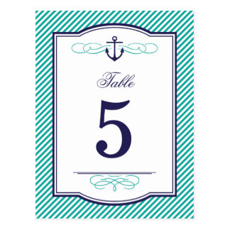 Navy and Teal Nautical Wedding Table Number Cards Postcard