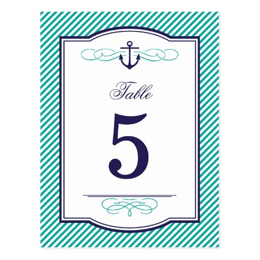 Navy and Teal Nautical Wedding Table Number Cards Postcards